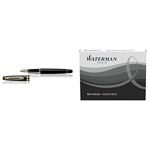 Waterman Expert 3 Penna Stilografica Black Gold Trim, Finiture Cromate, Pennino Medio + Ricariche D'Inchiostro Nero
