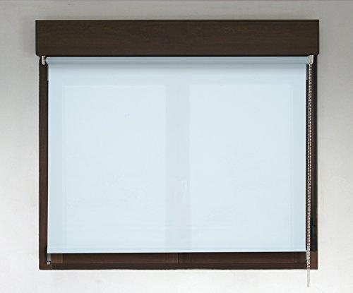 Estor enrollable TRANSLÚCIDO PREMIUM (desde 40 hasta 300cm de ancho / permite paso de luz, no permite ver el exterior/interior). Color azul claro. Medida 150cm x 160cm para ventanas y puertas