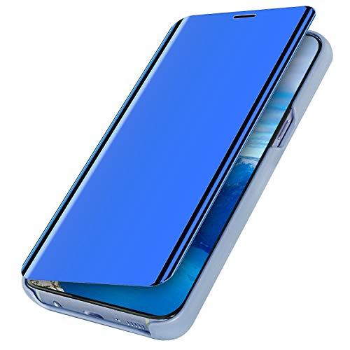 MoreChioce Compatible con Funda Huawei Mate 30 Pro,Carcasa Espejo Funda Mirror Flip Case Ultra Delgada Leather PC Hard Anti-Scratch Protector Cover Case,Azul