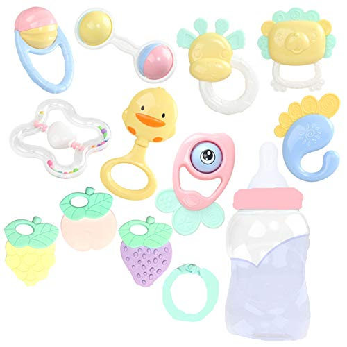 BigTree 12 PCS Baby Rattles and Toys Gift Set Hand Jingle Shaking Bell Infant Newborn Teething Toys Babies Chewing Silicone Teether with Pink Suitcase