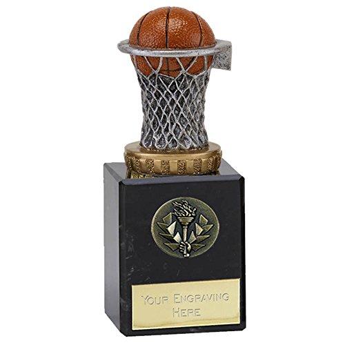 14,75cm Basketball Trophy Award auf Marmorsockel, Ball und Netz. GRATIS Gravur bis zu 30Buchstaben