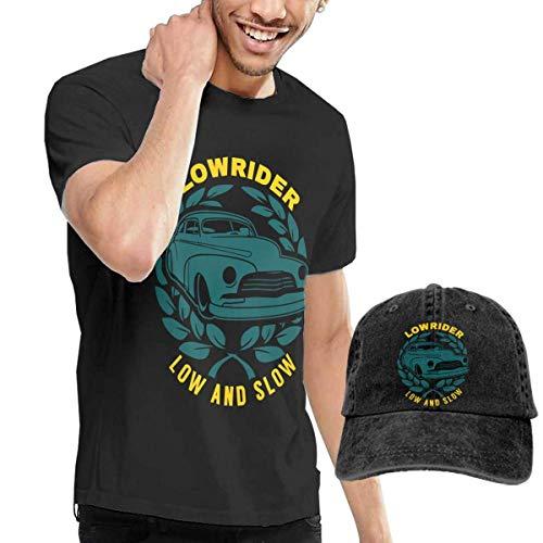 Tengyuntong sunminey Camicie e T-Shirt Sportive, Top e Bluse Lowrider Low And Slow Tshirt Short Sleeve Denim Hat Men'