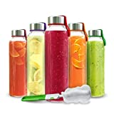 Chef's Star Glass Water Bottle 18oz Bottles For Juice & Beverages Stainless Steel Leak-proof Caps Colored...