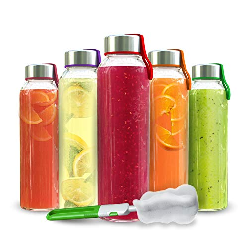 Chef's Star Glass Water Bottle 18oz Bottles For Juice & Beverages Stainless...
