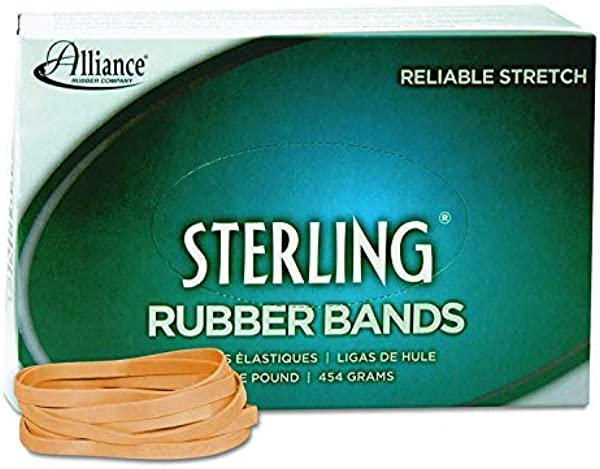 Alliance Rubber 24645 Sterling Rubber Bands Size 64 1 Lb Box Contains Approx 425 Bands 3 1 2 X 1 4 Inches Natural Crepe Pack Of 8