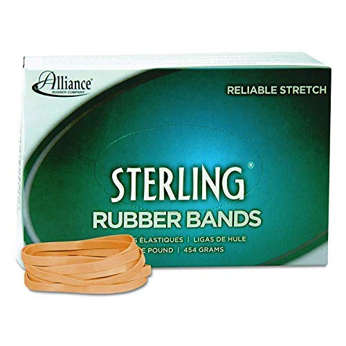 Alliance Rubber 24645 Sterling Rubber Bands Size #64, 1 lb Box Contains Approx. 425 Bands (3 1/2 x 1/4-Inches, Natural Crepe), Pack of 8