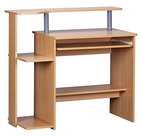 Wohnling Computertisch Dennis Buche mit Tastaturauszug, Laptop Tisch ohne Rollen mit Aufsatz, PC-Tisch mit Drucker-Ablage platzsparend, Schreibtisch für kleine Räume, 94 x 90 x 48 cm