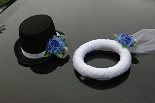 Autoschmuck, sluier, hoed, bruidspaar, rozen, decoratie, bruiloft, auto, lichtblauw, 27 x 31 x 15