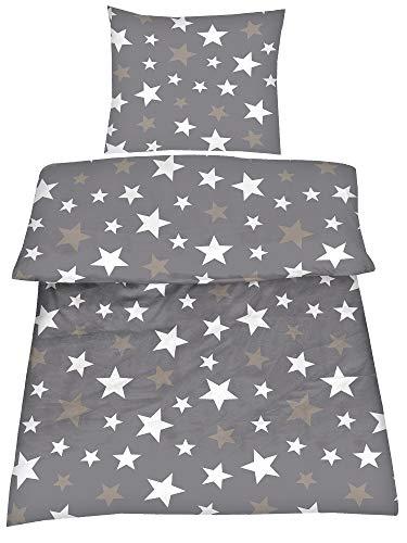 BaSaTex Cotton Rich Bettwäsche Sterne Grau 2 TLG. 135x200 cm + 80x80 cm mit Reißverschluss