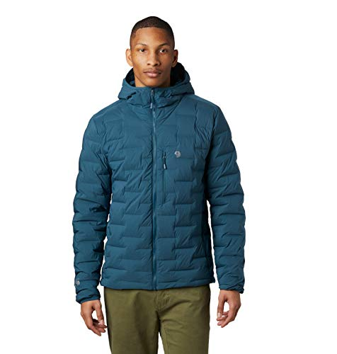Mountain Hardwear Super/DS Hooded Men's Insulated Jacket for Hiking, Camping, Climbing and Everyday - Icelandic - Medium