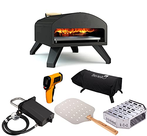 Bertello Outdoor Pizza Oven Everything Bundle - Gas, Wood & Charcoal Fired Outdoor Pizza Oven. Portable Pizza Oven
