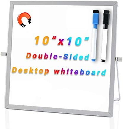 Small Dry Erase Board 10 x 10 Inch Desktop Whiteboard with Stand Magnetic Double Sided Whiteboard product image