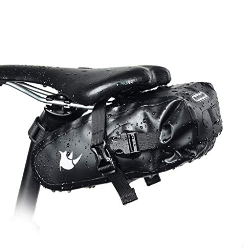 BIKERISK Bike Saddle Bag Waterproof Cycling Tail Bag Strap-on Bike Seat Bag for Mountain Road MTB Bike