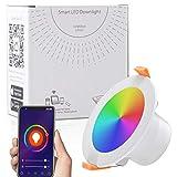 Ankishi Foco LED empotrable de 9 W, RGBW con mando a distancia, redondo, IP44, regulable, 2700 K-6500 K, foco LED RGB, cambio de color, foco empotrable regulable, ultraplano