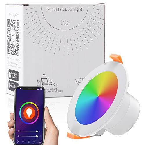 Ankishi Faretti LED da incasso intelligenti, Lampada da Pannello Wi-Fi Ultrasottile 9W 900LM, Downlight Multicolore Dimmerabile, Compatibile con Alexa e Google Assistant (1 PACK)
