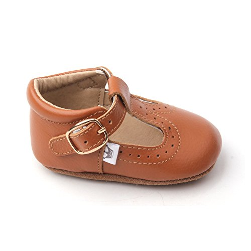 Liv & Leo Baby Girls Mary Jane T-Strap T-Bar Oxford Soft Sole Crib Shoes Leather (12-18 Months, Brown)