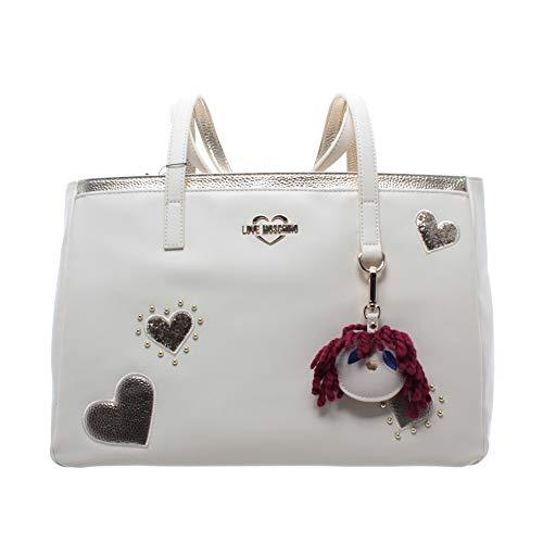 Love Moschino Damen Schulter Taschen PU Elfenbein Logo Herz Gold Neu