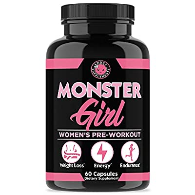 Monster Girl, Women's Pre-Workout + Recovery by Angry Supplements, Apple Cider Vinegar & Garcinia Cambogia for Weight Loss & Shape - Boosts Energy w. Caffeine, Yerba Mate, Ginseng & Guarana (1-Bottle)