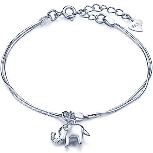 Unendlich U Süß Elefant Mädchen Charm-Armband 925 Sterling Silber Doppel Armkette Verstellbar Armkettchen, Silber