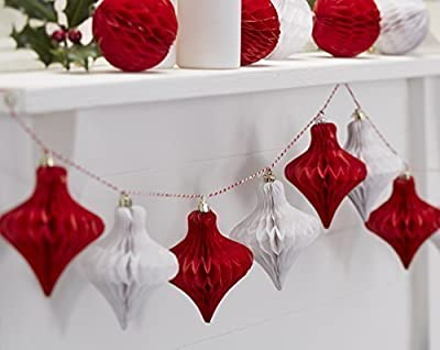 Vintage Noel Red & White Christmas Honeycomb Baubles By Ginger Ray