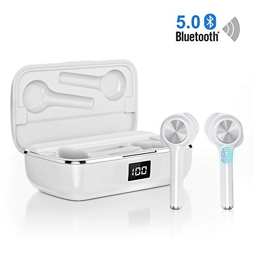Ture Wireless Earbuds Bluetooth 5.0, in-Ear Noise Cancelling Bluetooth Headphones 40H Playtime with Dual-Mic Stereo Headset Touch Control Compatible with Smartphones Tablets (White)