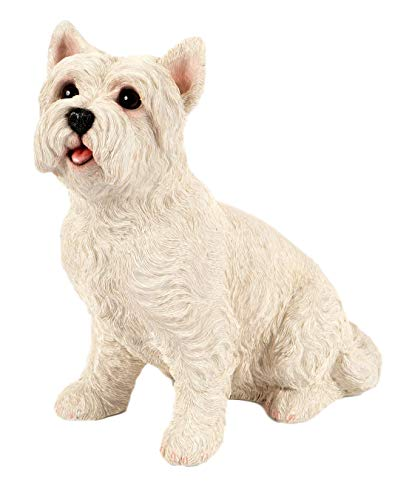Outdoor Garden Patio Lawn Life Like Resin Sitting West Highland Terrier Westie Dog Statue Figurine Ornament from Garden Creations 27cm (H) x 20cm (D)