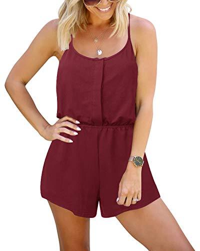 YOINS Pijama para mujer, sin mangas, casual, con cremallera frontal, corto, cintura elástica, con bolsillos