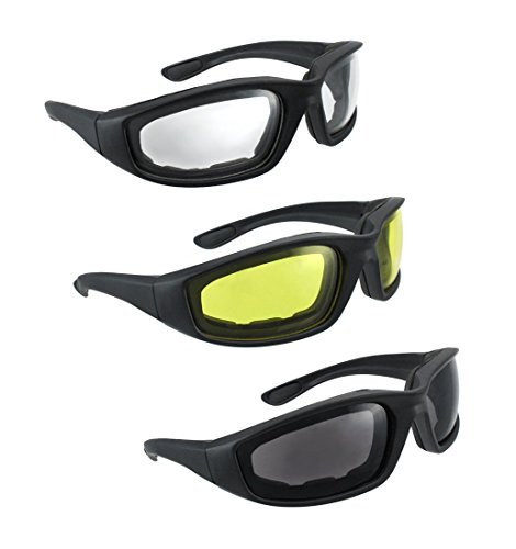 3 Pair Motorcycle Riding Glasses Smoke Clear Yellow