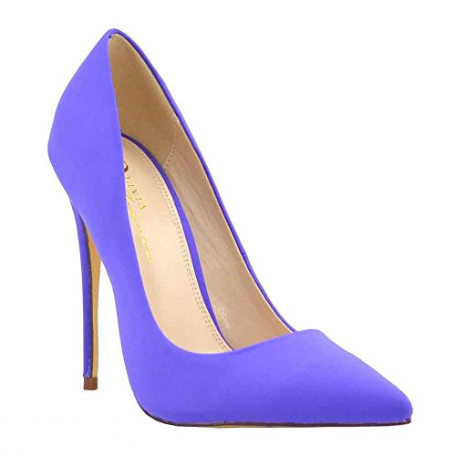 Women's Dress Pump | Pointed Toe Low-Cut Vamp | Sculptured Stiletto Thin Heel Slip-on Pumps (6, Purple)