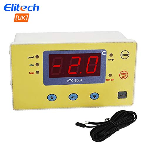 Elitech 220V Digitale temperatuurregelaar, thermoelement voor aquarium verwarmingsmatten, terrarium, vivarium, kip broodtrommel, broeikas fans, elektrische schakelaars enz.