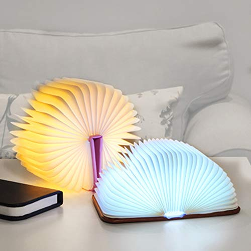 JminJC LED Lampe De Table Creative Livre Pliant Lampe USB Recharge Douce Lumière Eye Moderne Dortoir Chambre Sommeil Lampe De Table,Brown