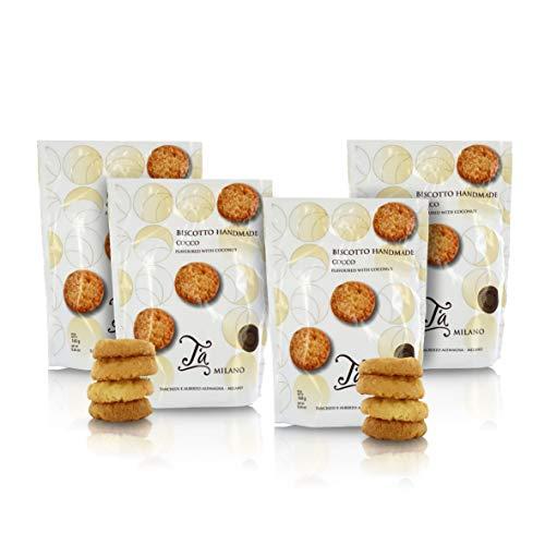 Sacchetto di fragranti Biscotti al Cocco Fatti a Mano - 160g (Confezione da 4 Pezzi)
