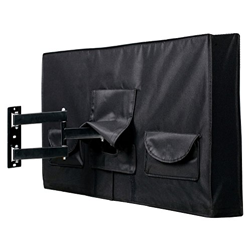 """Outdoor TV Cover 46"""" - 48"""" - FULLY COVERED - Black - Weatherproof and Dust-proof PVC Coated Oxford Fabric - BUILT TO LAST"""
