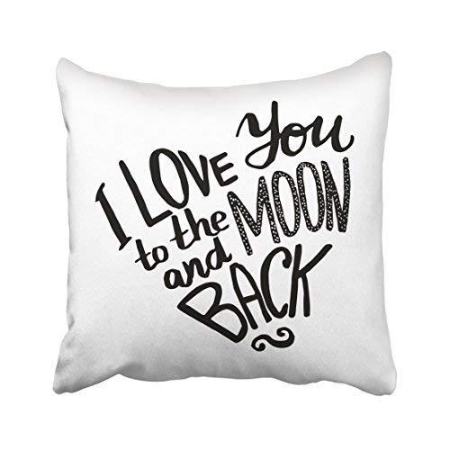 Funda de almohada decorativa para el hogar, 16 x 16, color negro, frase I love you to the moon and back en forma de corazón, fundas de cojín, cuadradas decorativas para sofá, accesorios para el hogar, regalos