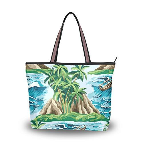Ahomy Damen Strandtasche, Strandtasche, Sommer, Palme, Boot und Meereswelle, Blumenmuster, große Schultertasche für Damen, Mehrfarbig - multi - Größe: L