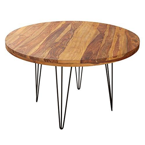 riess-ambiente.de Massiver Esstisch MAKASSAR 120cm Sheesham rund mit Hairpin Legs Bistrotisch Tisch
