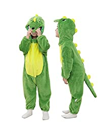 2. Tonwhar Unisex Toddler Hooded Dinosaur Onesie Romper