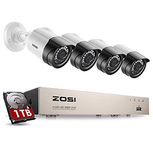 ZOSI 1080P Kit de Videovigilancia Sistema de Seguridad 8CH 2MP Grabador DVR + (4) Cámara de Vigilancia Exterior, 20m Visión Nocturna, Detección de Movimiento, 1TB Disco Duro
