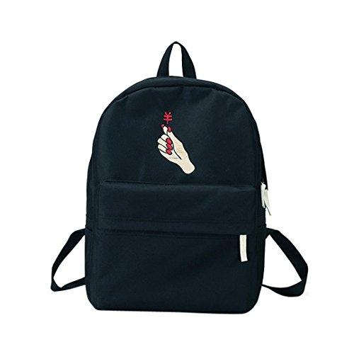 Hansee® Mädchen Leinwand Einfarbig Rucksack,Hansee Fashion Preppy Hand Stickerei Schule Taschen Campus Canvas Student Rucksack (schwarz)