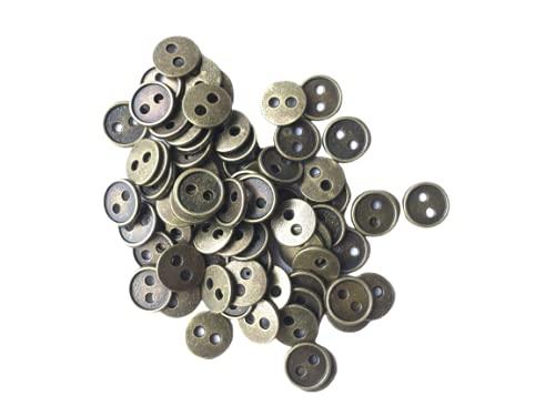 ブロンズ色 丸ボタン約8mm 80個 極小 小さめ ハンドメイド材料 デコ材料 ドール用 人形用 ミニチュア用