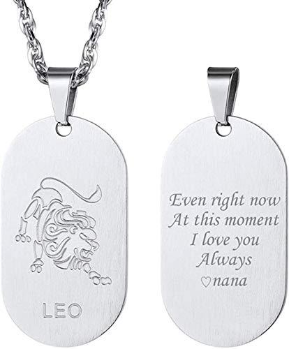 HUIQ Acero Inoxidable Zodiaco Amuleto 12 Constelaciones Nombre Personalizado Collar Colgante Leo Joyería Hombres Tag