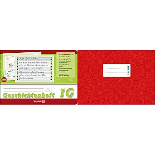 Brunnen 1045990 Geschichtenheft Klasse 1 & HERMA 7412 Heftumschlag DIN A5 quer, aus strapazierfähiger und abwischbarer Polypropylen-Folie, 1 Heftschoner für Schulhefte, rot