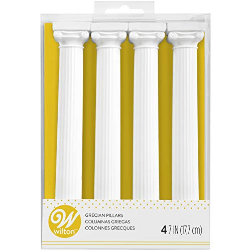 Wilton 303-3705 Pack de 4 Columnas Estilo Griego para Tartas, 17,8 cm