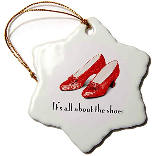 Its All About The Shoes, Ruby Slippers Wizard Of Oz Snowflake Porcelain Ornament, 3-Inch