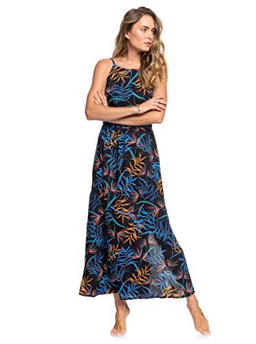 Roxy Capri Sunset - Vestido Largo De Tiras para Mujer Vestido Largo De Tiras, Mujer, Anthracite Wild Leaves, M