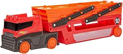 Hot Wheels - Camión Transportador de coches de juguete regalos para niños y niñas +5 (GWT37)