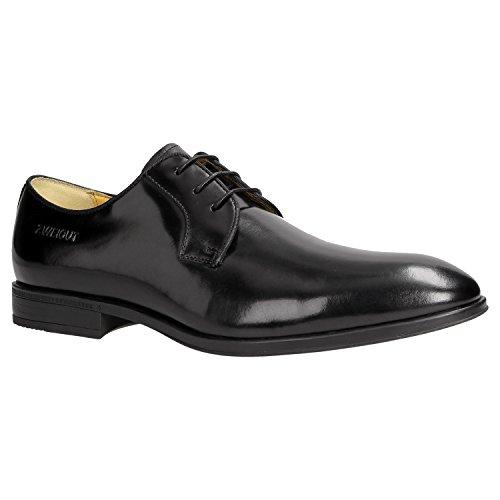 Zweigut® -Hamburg- smuck #270 Herren Business Leder Schuh Komfort-König Derby Sneaker-Gefühl, Schuhgröße:47, Farbe:schwarz