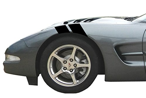 Clausen's World 4 Inch Fender Hash Mark Bars Racing Stripes Vinyl Decal, Fits Chevy Corvette C5, Both Sides, Black