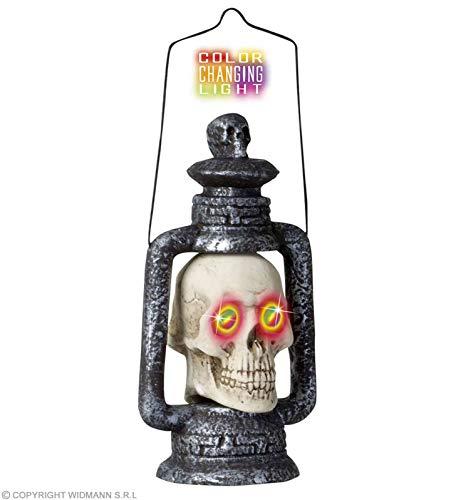 Widmann 7827H - Leuchtende Totenkopf-Laterne, 1 Stück, Höhe: 35 cm, mit farbwechselndem Licht, Dekoration zum Hängen oder Stellen, für Halloween, Karneval und die Grusel- oder Horrorparty, Skelett
