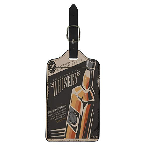 Pinbeam Luggage Tag Bottle Whiskey Vintage Retro Drink Creative Promotional Suitcase Baggage Label
